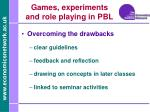games experiments and role playing in pbl4