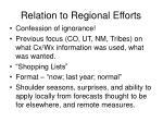 relation to regional efforts