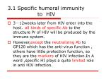 3 1 specific humoral immunity to hiv