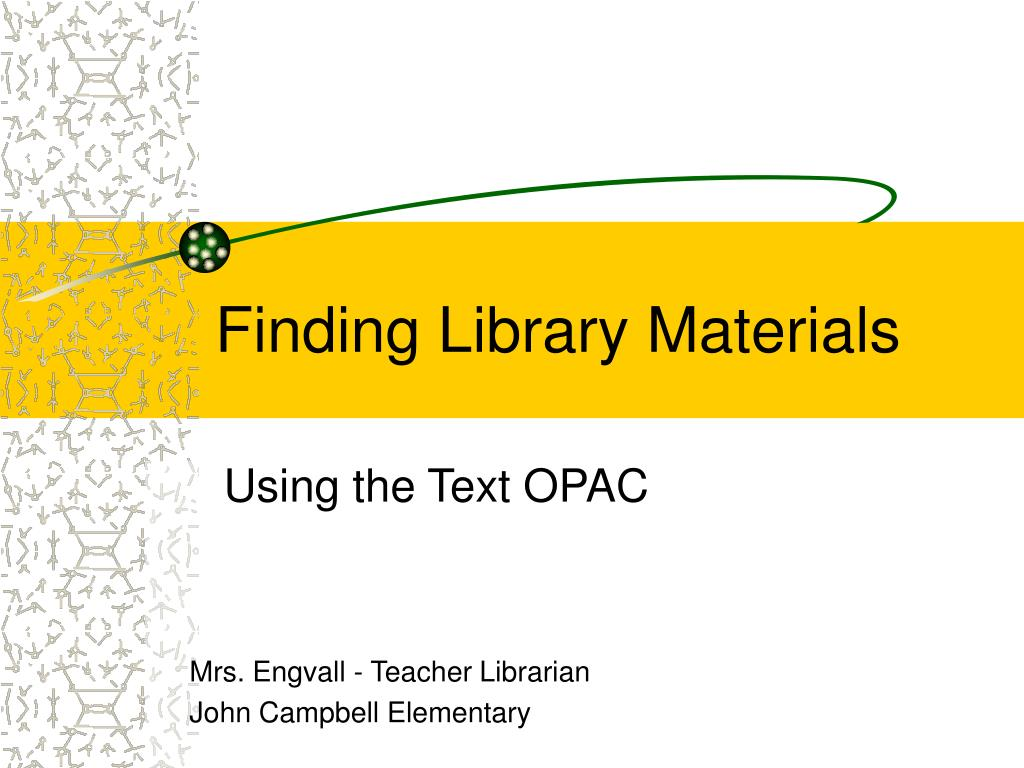 finding library materials l.