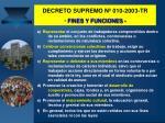 decreto supremo n 010 2003 tr fines y funciones