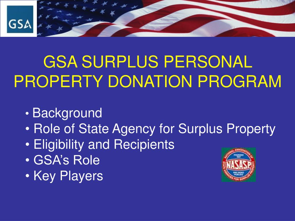 gsa surplus personal property donation program l.