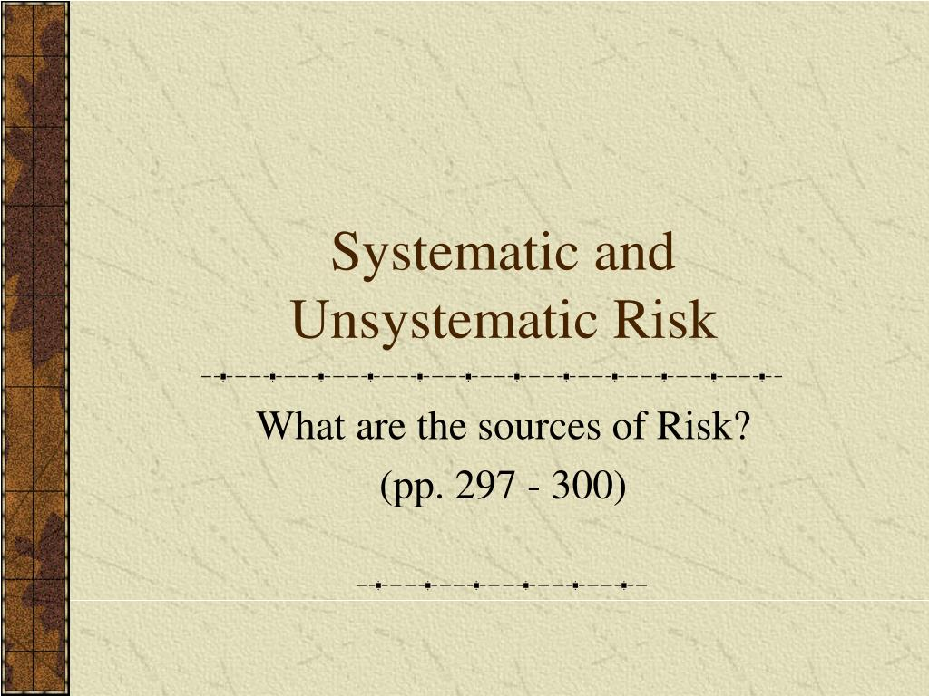 systematic and unsystematic risk l.