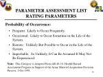 parameter assessment list rating parameters16