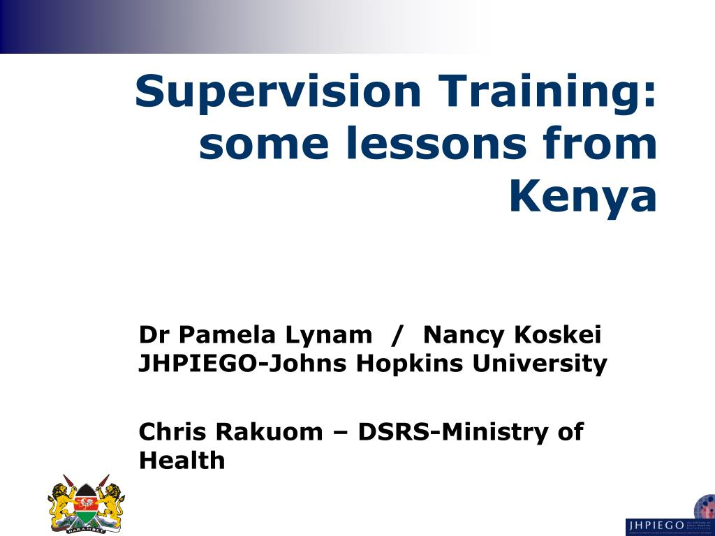 supervision training some lessons from kenya l.