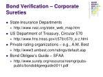 bond verification corporate sureties