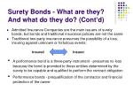 surety bonds what are they and what do they do cont d
