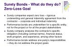 surety bonds what do they do zero loss goal