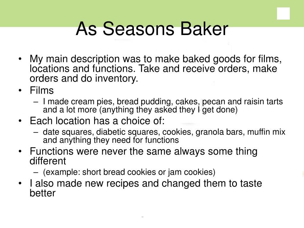 As Seasons Baker