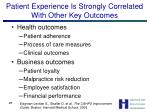 patient experience is strongly correlated with other key outcomes