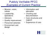 publicly verifiable pfcc examples of current practice