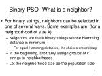 binary pso what is a neighbor