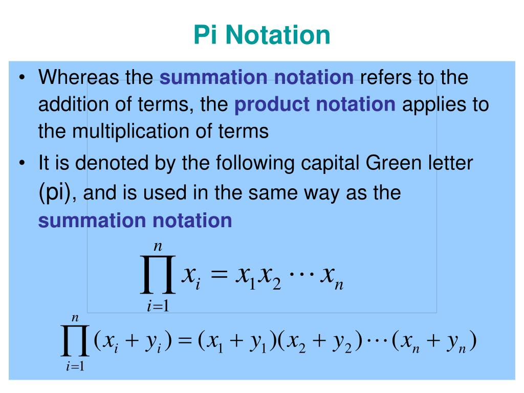 Pi Notation