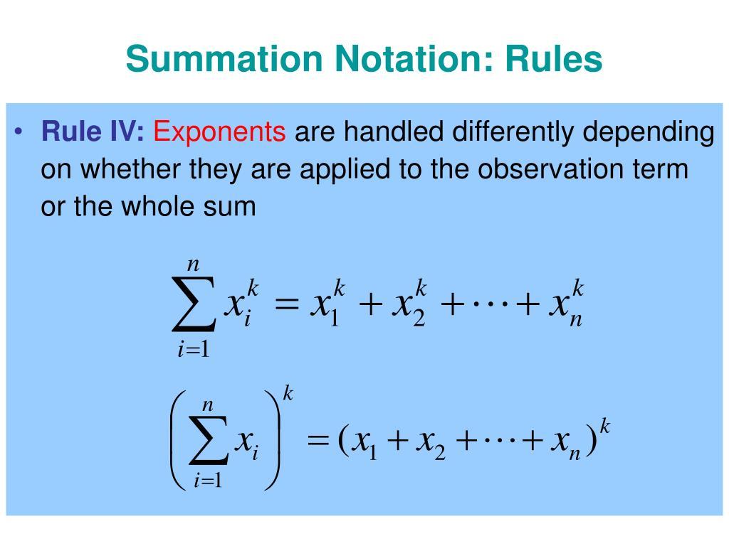 Summation Notation: Rules