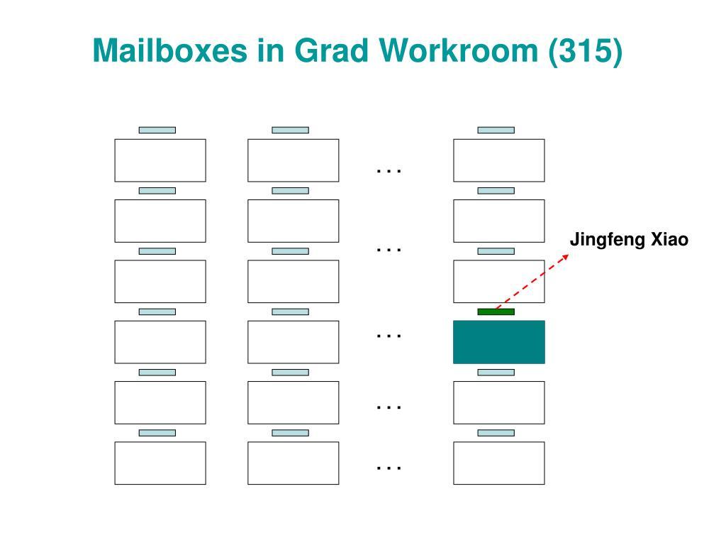 Mailboxes in Grad Workroom (315)