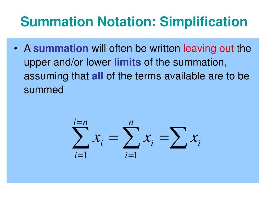 Summation Notation: Simplification