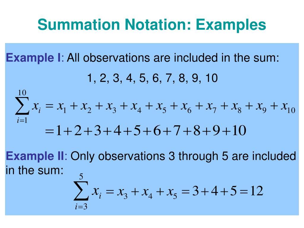 Summation Notation: Examples