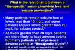 what is the relationship between a therapeutic serum phenytoin level and seizure prevention