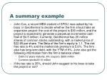 a summary example