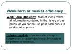 weak form of market efficiency