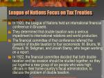 league of nations focus on tax treaties