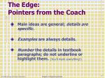 the edge pointers from the coach