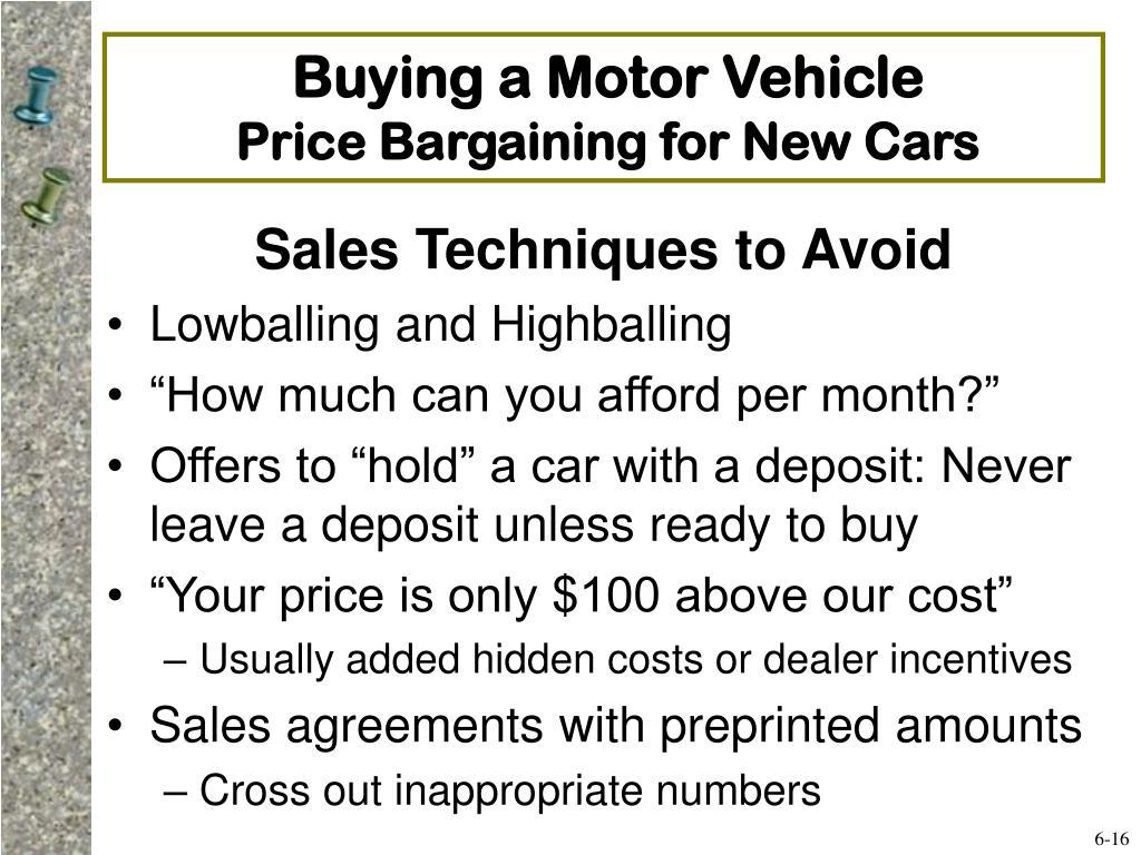 Buying a Motor Vehicle