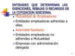 entidades que determinan las exenciones rebajas o recargos de la cotizacion adicional