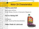 motor oil characteristics