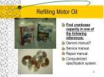 refilling motor oil