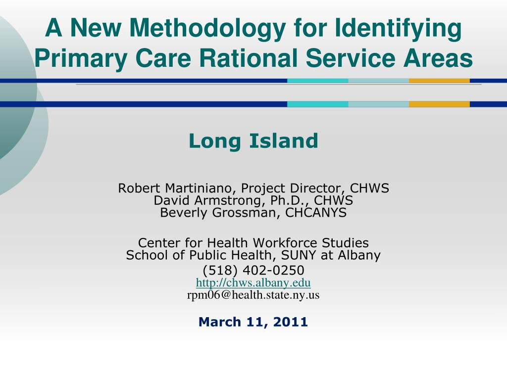 a new methodology for identifying primary care rational service areas l.