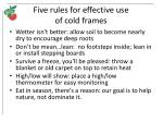 five rules for effective use of cold frames