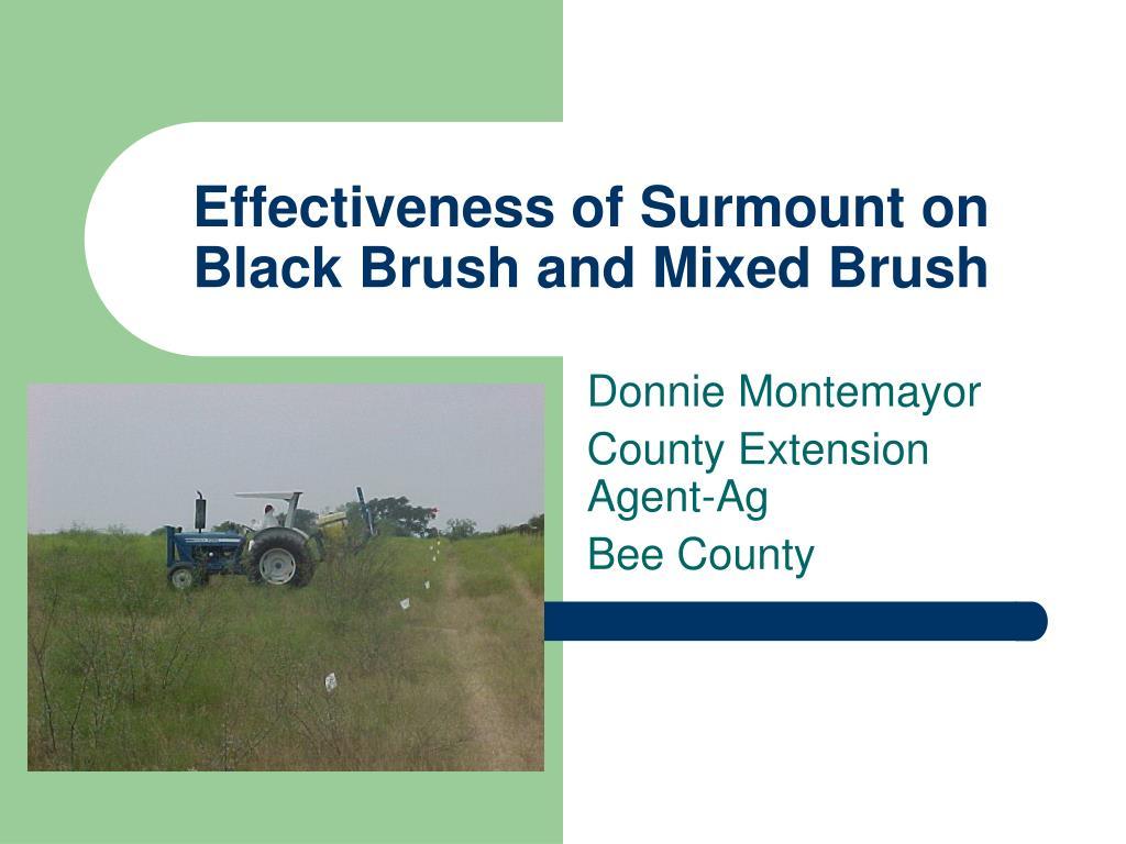 effectiveness of surmount on black brush and mixed brush l.