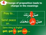 change of preposition leads to change in the meanings