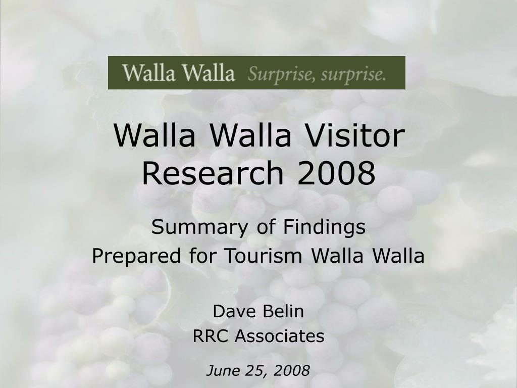 walla walla visitor research 2008 l.