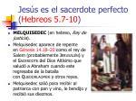 jes s es el sacerdote perfecto hebreos 5 7 1028