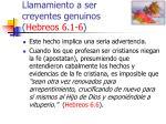 llamamiento a ser creyentes genuinos hebreos 6 1 645