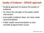 quality of evidence grade approach