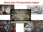 where does tb transmission happen