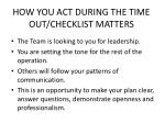 how you act during the time out checklist matters