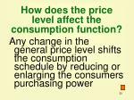 how does the price level affect the consumption function