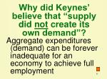 why did keynes believe that supply did not create its own demand