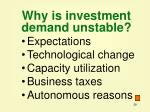 why is investment demand unstable