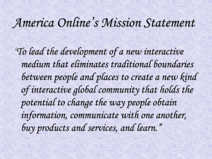 America online s mission statement