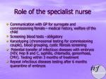 role of the specialist nurse