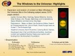 the windows to the universe highlights