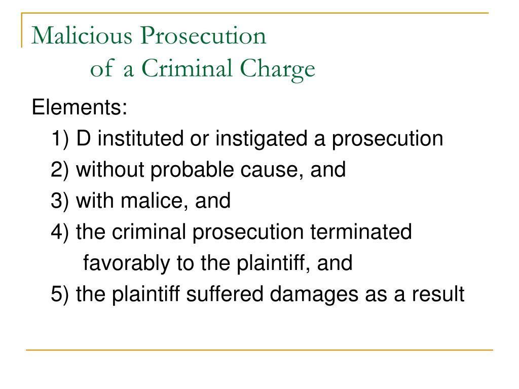 PPT - Malicious Prosecution, Wrongful Civil Litigation