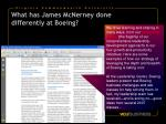 what has james mcnerney done differently at boeing