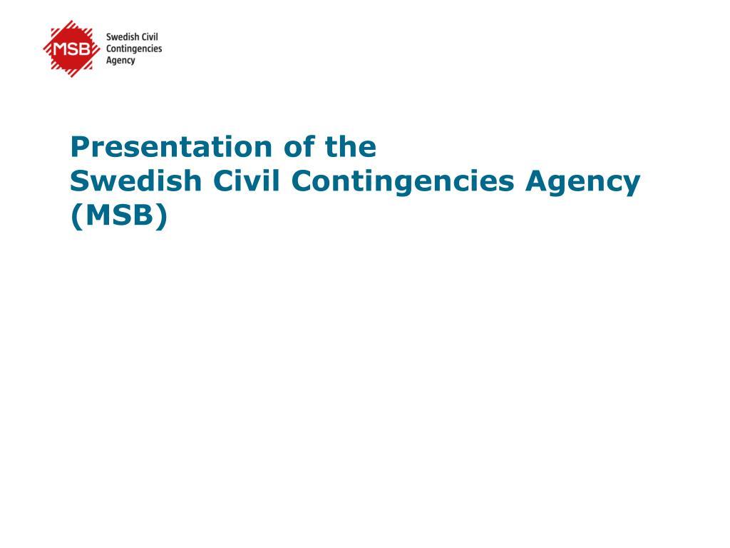 presentation of the swedish civil contingencies agency msb l.