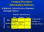 content providers information industry